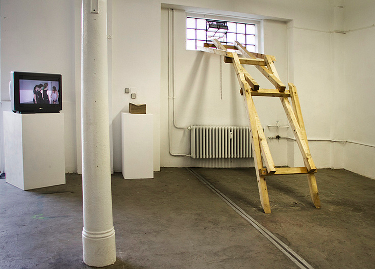 North gallery installation view of Stine Marie Jacobsen, Michiel Huijben, and Lynda Amer Meziane (from left to right)