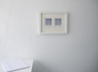 Installation view, David Horvitz, on left: Directions to a Sunset, 2009, 11. 8.5 inches, Photocopy, Open Edition. On right, Dawn and Dusk (2008 Summer Solstice), 2008. Two polaroids.