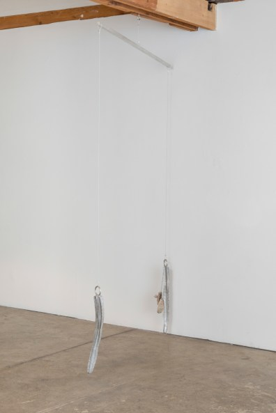 Installation view of Fay Ray, Hanging Sculptures, organized by Gladys-Katherina Hernando, April 25–May 17, 2015, JOAN, Los Angeles , Photo by Joshua White.