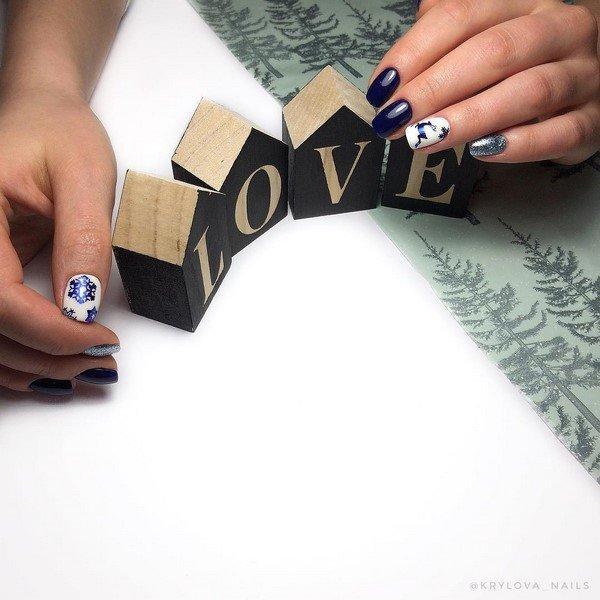 Зимний дизайн ногтей — лучшие и модные идеи