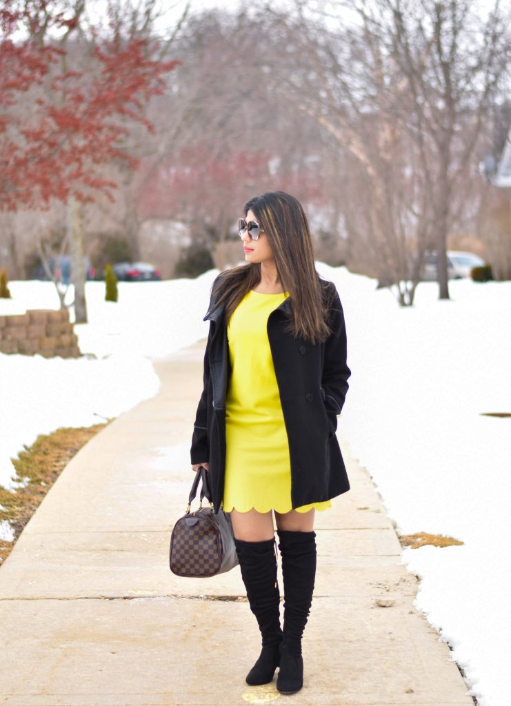 Yellow dress in snow