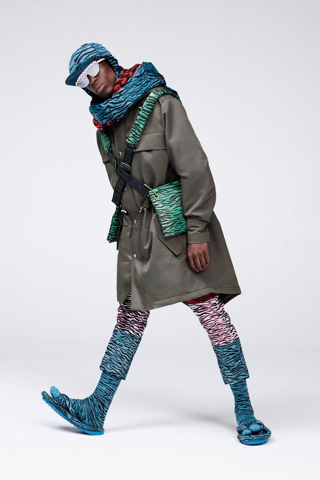 kenzo for h&m green parka