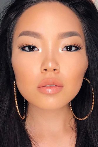 Natural Makeup With Super Glitter Lip Gloss