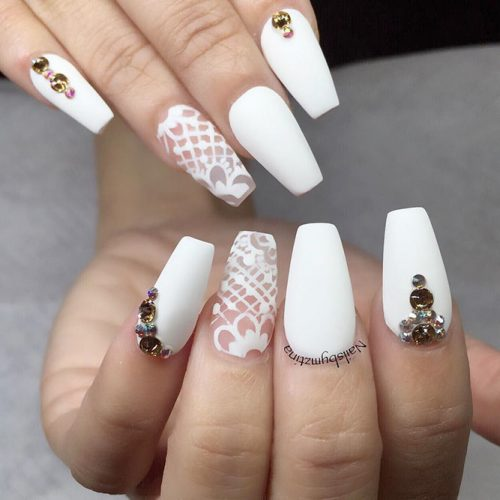 Cute White Coffin Nails #rhinestonesnails #lacenailart