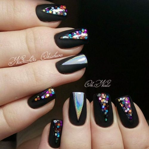 Sparkly Black Glitter Nails picture 5