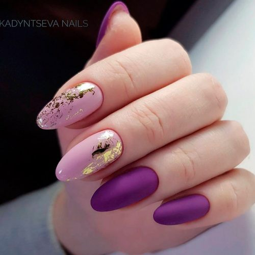 Elegant Lilac Nails With Gold Accents #mattenails #purplenails #citenaildesign