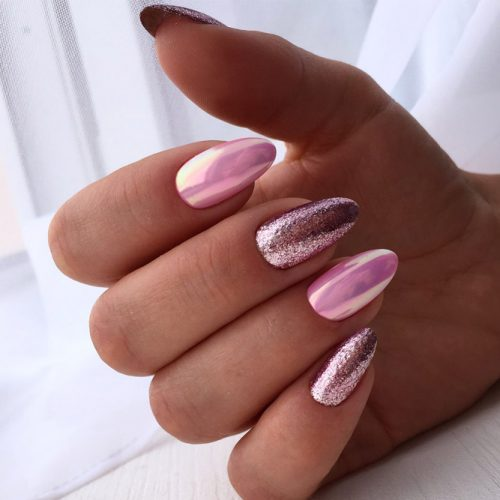 Glitter Nail Design For Oval Nails #glitter #chromenails