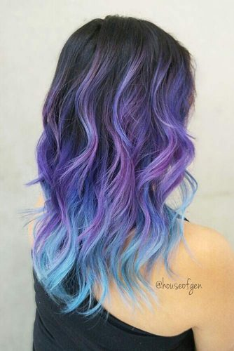 From Dark Purple To Light Blue Ombre Hairstyle #wavyhair #layeredhaircut #longhair