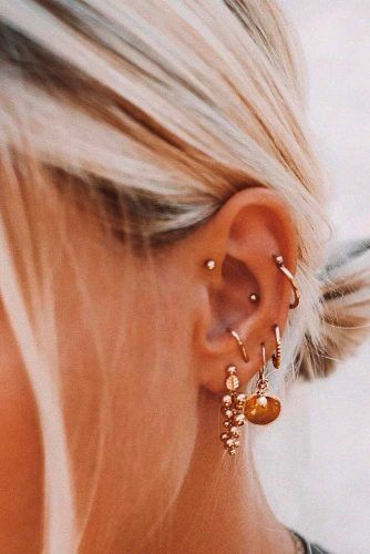 Multiple Piercings With Forward Helix #multiplepiercings #helixearpiercings #lobeearpiercings