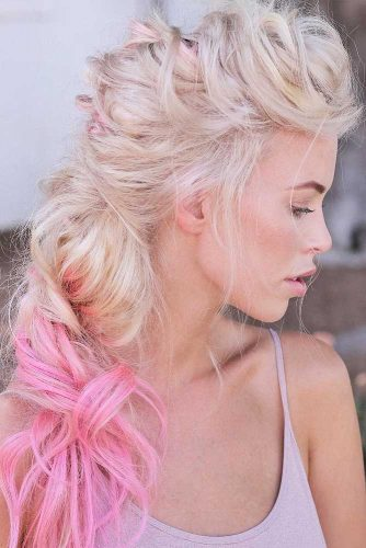 Long Faux Hawk Hairstyle With A Ponytail #longhair #blondehair #ombrehair