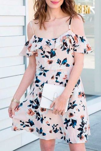 Falling Shoulders Dress With Floral Print #fallingshouldersdress #summerdress