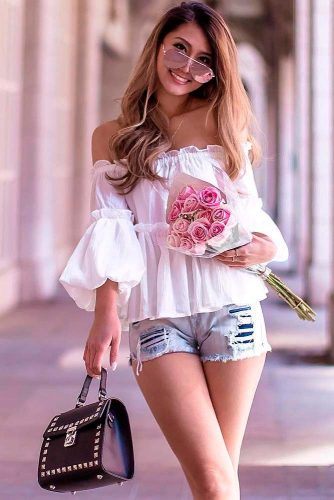 White Blouse With Bare Shoulders #bareshouldersblouse