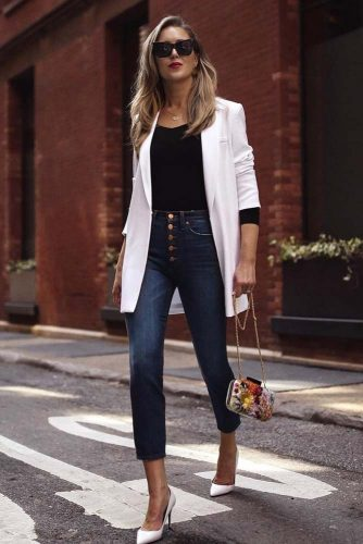 Work Outfit With High Waisted Jeans #classiclook