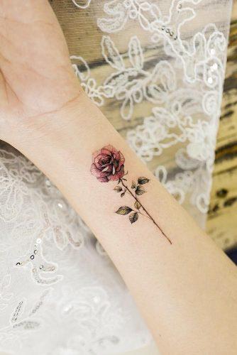 Single Rose Tattoo Design For Wrist #wristtattoo #singlerosetattoo