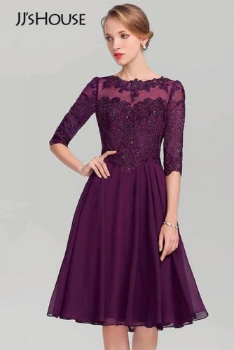 Purple Lace Dress With Three-Quarter Length Sleeves #lacedress #formaldress
