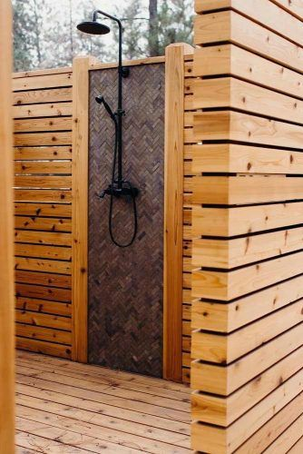 Wood Closed Outdoor Shower #woodclosedshower