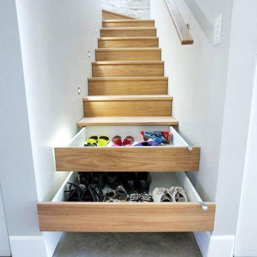 Shoe Drawers In Stairs #shoestorageunderstairs