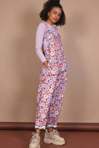 Floral Overalls With High Platform Sneakers #floraloveralls #highsneakers
