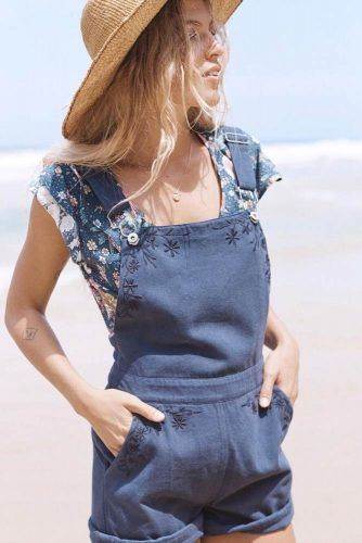 Blue Overalls With Floral Shirt And Hat