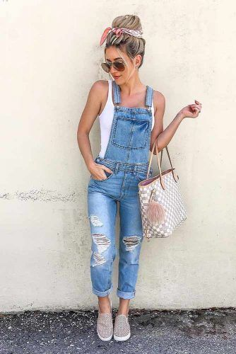 Ripped Denim Overalls With Tank Top #rippedoveralls