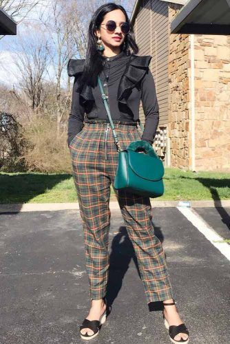 Classic Outfit With Plaid Pants And Black Blouse #blouse #greenbag