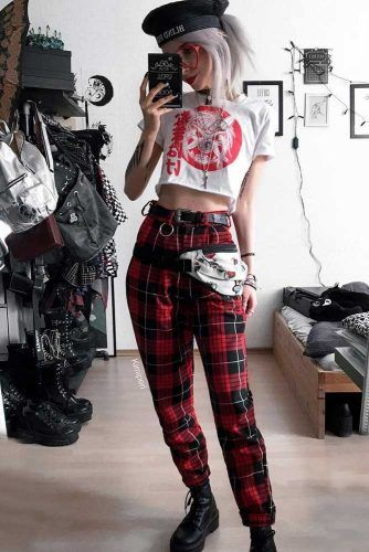 Plaid Pants With Crop Top And Grunge Boots Outfit #grungestyle #redpants