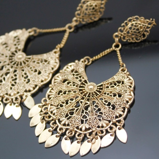 Vintage Gold Aztec Mexico Art Deco Filigree Calendar Chandelier Drop Bali Dance Dangle Earrings Jewelry Prom