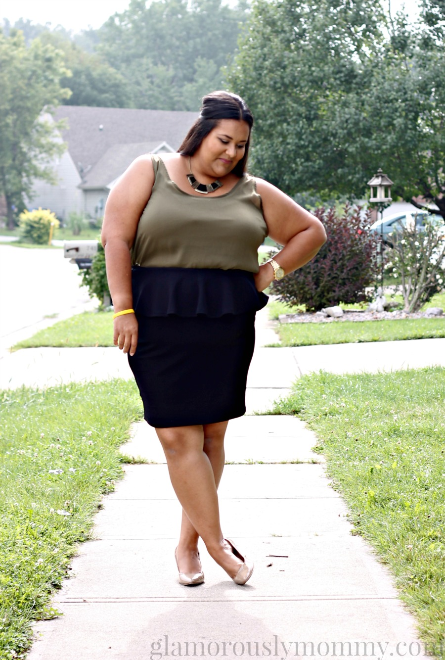 Plus Size Black Textured Peplum Skirt