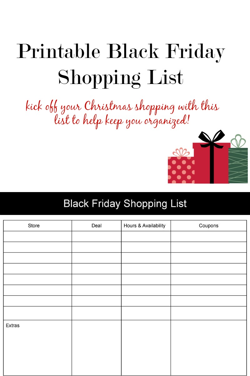 BLACK FRIDAY PRINTAB;E SHOPPING LIST