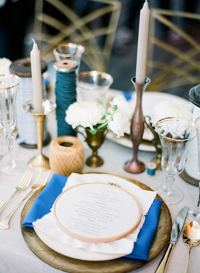 handmade blue and gold wedding inspiration | Justin DeMutiis