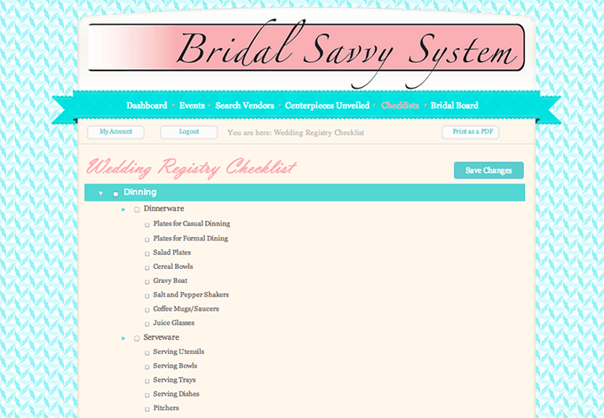 Bridal Savvy System