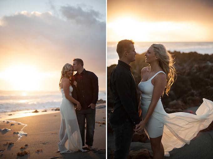 sunrise beach engagement | Melanie Gabrielle Photography
