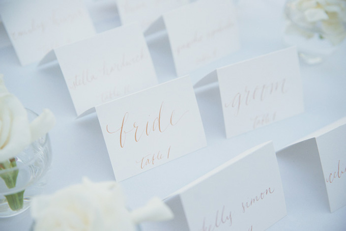 calligraphy escort cards   Emily Heizer Photography