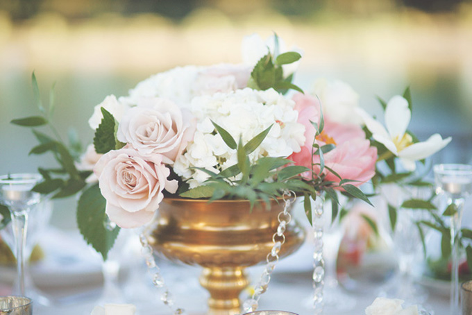 romantic pink and gold centerpieces   Emily Heizer Photography