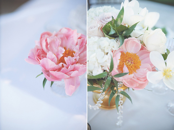 romantic pink and gold centerpices   Emily Heizer Photography