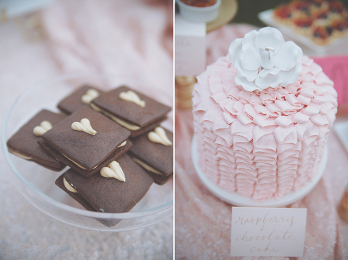 pink ruffle cake and heart cookies   Emily Heizer Photography