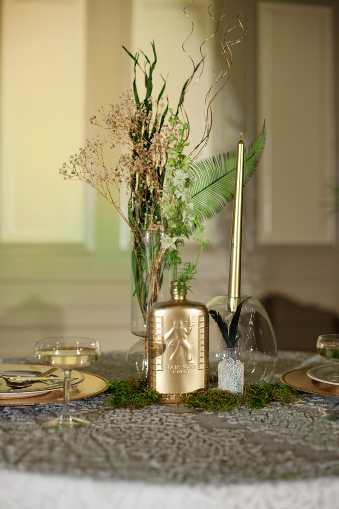 art deco emerald and gold centerpieces | Ellen Bucher Photography