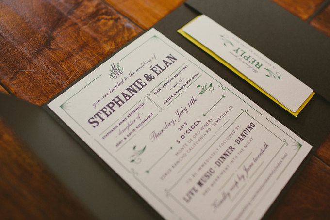purple and green invitation | Hom Photography