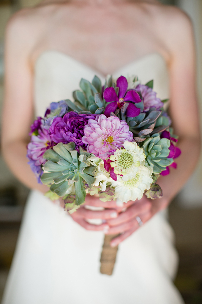 purple and succulent bouquet | Orbie Pullen Photography