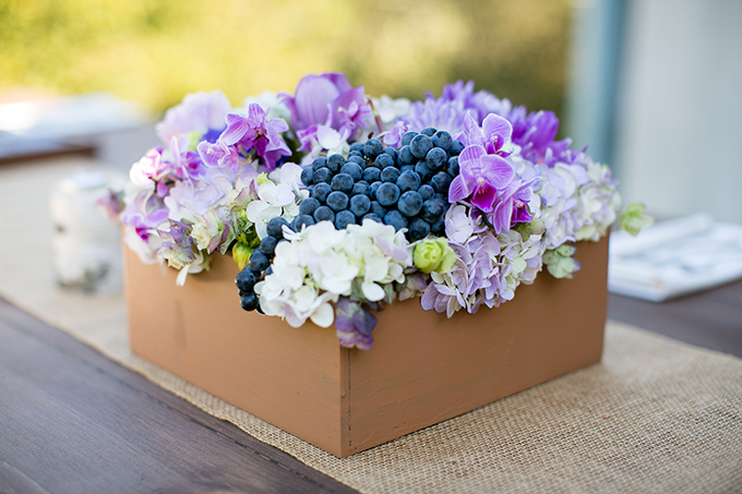 grape box centerpieces | Orbie Pullen Photography
