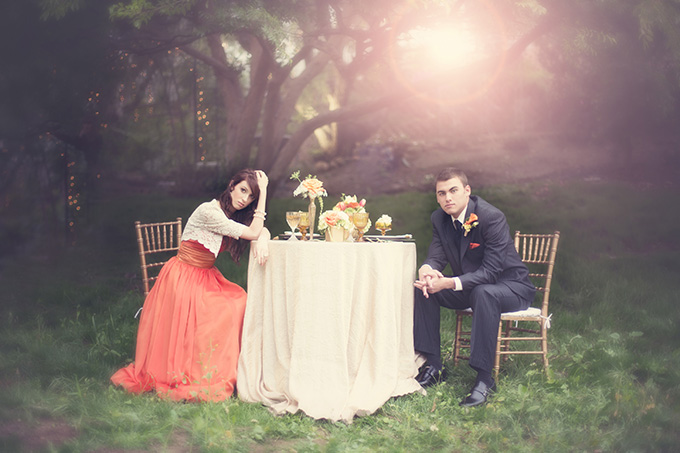 dreamy orange wedding inspiration | Christine Sara Photography | Glamour & Grace