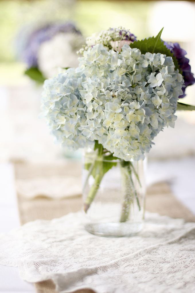 hydrangea and mason jar centerpieces | Holly Cromer Photography | Glamour & Grace