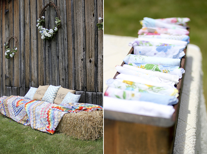 hay bale lounge area | Holly Cromer Photography | Glamour & Grace