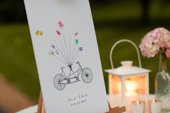bike thumbprint guest book | Clewell Photography | Glamour & Grace