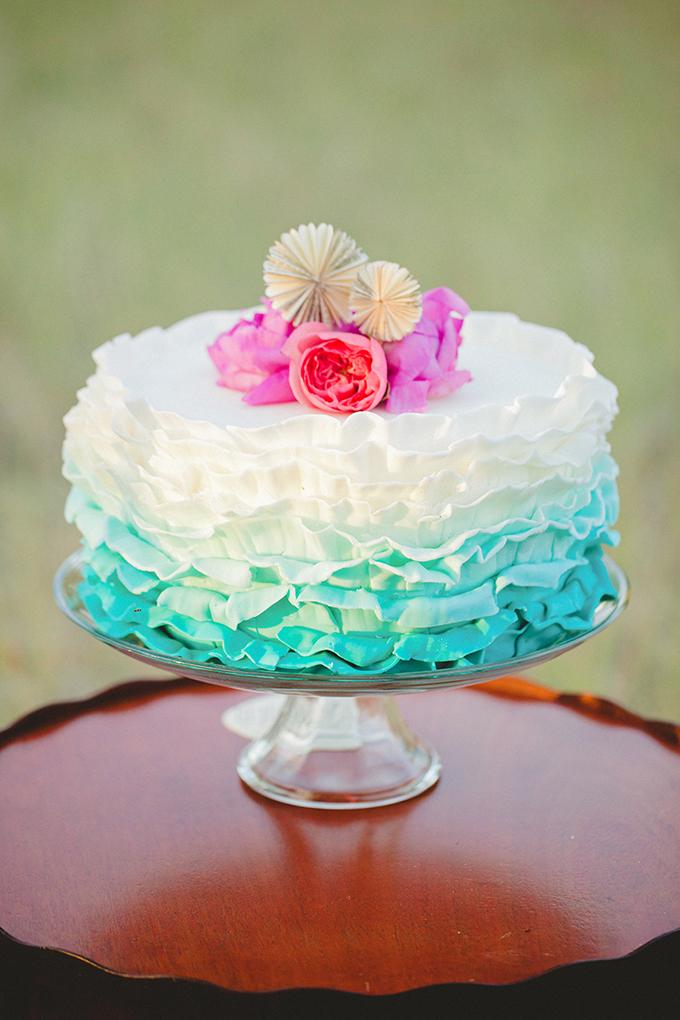 ruffle ombre cake | Denise Nicole Photography | Glamour & Grace