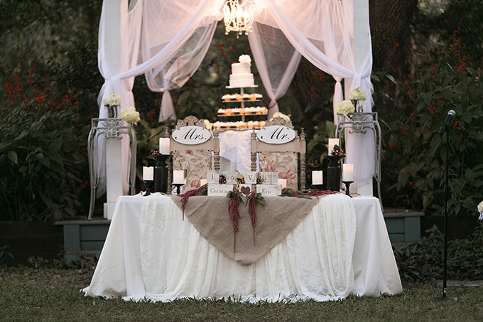 sweetheart and cake table | K and K Photography | Glamour & Grace