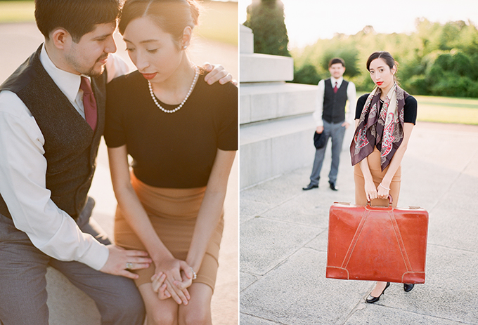 vintage styled engagement session | Michael and Carina Photography | Glamour & Grace