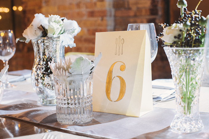 DIY gold table numbers | Two Birds Photography | Glamour & Grace