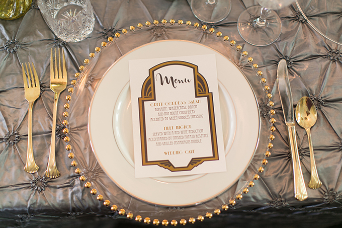 art deco menu | Andi & Zoe Photography | Glamour & Grace