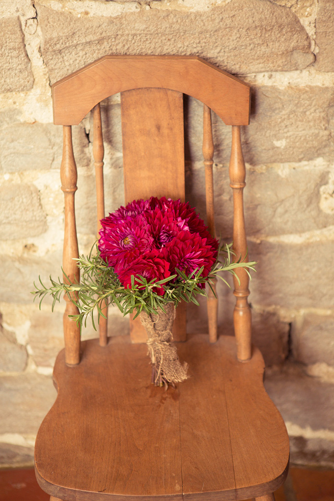 red dahlia bouquet | Kandid Weddings Photography | Glamour & Grace